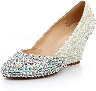 Women's High Heels Wedding Shoes, Wedge Heel High 6.5 cm Pearl Rhinestone Shallow Mouth Round High Heels Non-Slip Non-Abrasive Feet for Wedding Banquet