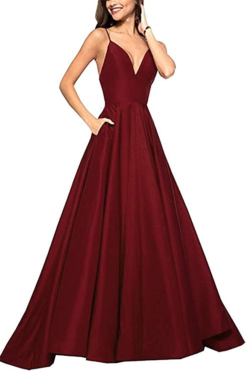 Falydal A Line Prom Dress Long 2019 Spaghetti Straps Satin Evening Formal Gowns