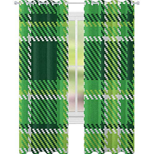 YUAZHOQI Checkered Curtains for Living Room Old Fashioned Irish British Tile Mosaic in Vibrant Green Colors Decorative Curtains for Living Room 52' x 108' Emerald Lime Green White