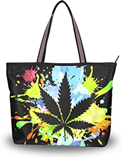 My Daily Damen Schultertasche mit Marihuana-Blattmotiv