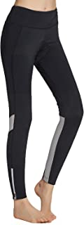 Womens Cycling Pants Padded Long Bike Bicycle Tights Capri Pants Wide Waistband with Pocket