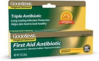 GoodSense First Aid Antibiotic Ointment, Triple Antibiotic for Infection Protection for Burns, Cuts and Scrapes, 1 Ounce