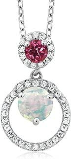 Gem Stone King 1.14 Ct Round Cabochon White Simulated Opal Pink Tourmaline 925 Silver Pendant