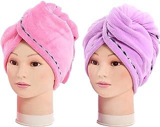 Turbie Séchage Rapide Cheveux serviette Twist Wrap Boucle Bouton Chapeau Bonnet Turban Douche Baignoire