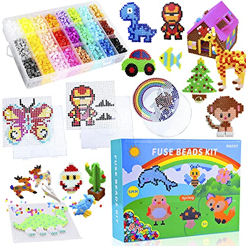 MAOOY Iron Beads Kit - Melty Beads Arts and Crafts Pearler Set for Kids - 6000...