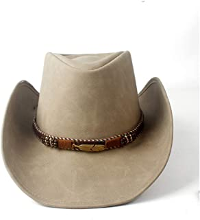 SHENTIANWEI 100% Leather Men Western Cowboy Hat for Gentleman Dad Cowgirl Sombrero Hombre Caps