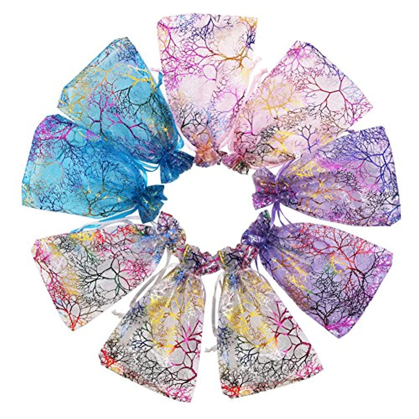 SumDirect Mixed Color Coralline Organza Gift Bags, Wedding Favor Party Jewelry Candy Pouches,5x7 Inches,Pack of 100