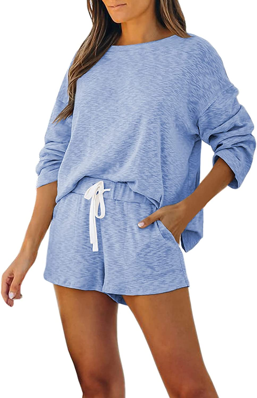 Fixmatti Women Shorts Sweatsuit Sets Long Sleeve Top and Shorts Pant Set