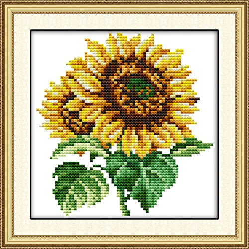 Printed Cross Stitch Kits 11CT 9X9 inch 100% Cotton Holiday Gift DIY Embroidery Starter Kits Easy Patterns Embroidery for Girls Crafts DMC Stamped Cross-Stitch Supplies NeedleworkThe Sunflower