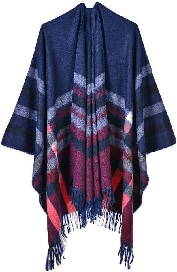 SYXMSM Ponchos Caps for Women Winter Scarf Blanket Simple Stripe Shawls and Wraps Thicken Tassels Imitation Cashmere Ladies Winter Cloak (Color : E)