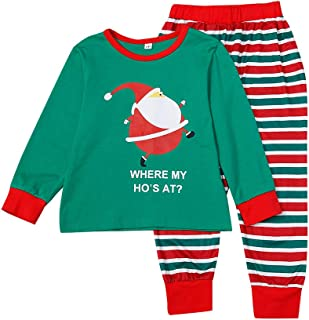 Family Christmas Pyjamas Set,Long Sleeve Cartoon T-Shirt+Striped Pants Pajamas,Men,Women,Kid,Baby Print Blouse Tops and Pa...