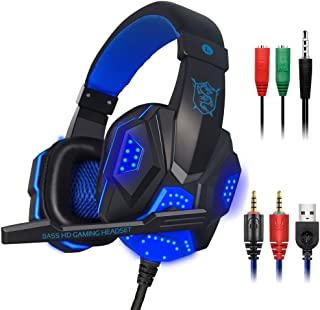 Gaming Headset with Mic and LED Light for Laptop Computer, Cellphone, PS4 and so on, maxin 3.5mm Wired Noise Isolation Gam...