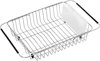 ARCCI Expandable Dish Drying Rack with White Utensil Holder Cutlery Rack, Over Sink Dish Rack, in Sink or on Countertop Dish Drainer, Rustproof Stainless Steel, White Utensil Rack