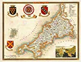 MAP Antique MOULE 1850 Cornwall County Old Large Replica