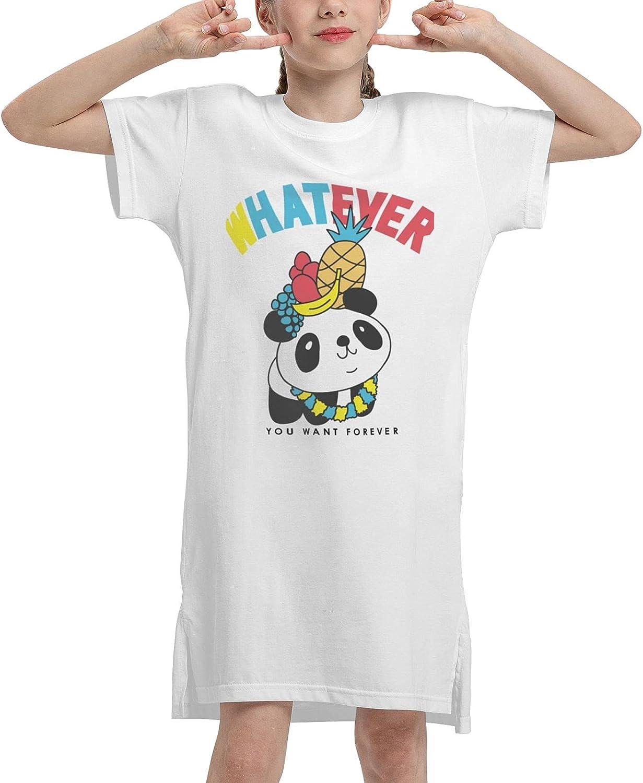 lofeeke Girls Casual Summer Dress Whatever You Want Panda Short Sleeve T-Shirt Kids White