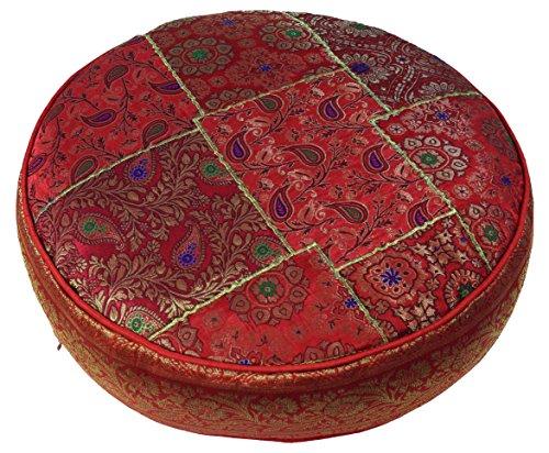 Guru-Shop Orientalisches Rundes Patchwork Kissen 50 cm, Sitzkissen, Bodenkissen mit Baumwollfüllung - Rot, Synthetisch, Zierkissen, Dekokissen, Sofakissen