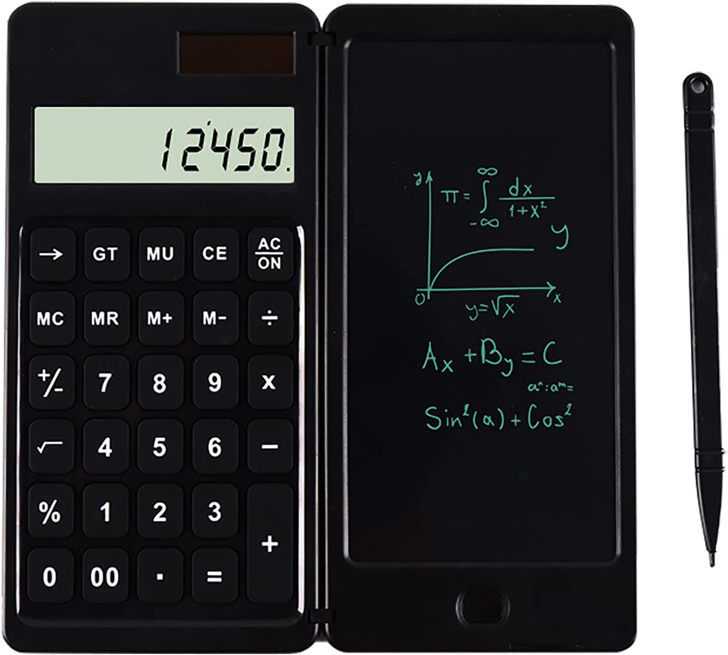 schicj133mm Calculator LCD Drawing Pad Ultra-Thin Solar 10-Digit Calculator Electronic Drawing Board Rechargeable Multifunctional Black