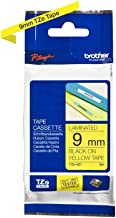 Brother TZe-621 Labelling Tape Cassette, Black on Yellow, 9 mm (W) x 8 m (L), Laminated, Brother Genuine Supplies