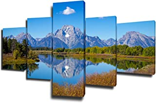 Native American Decor Grand Teton Paintings Mountains Pictures 5 Piece Canvas Wall Art Modern Artwork Home Decor for Living Room Wooden Framed Gallery-wrapped Stretched Ready to Hang(50''Wx24''H)