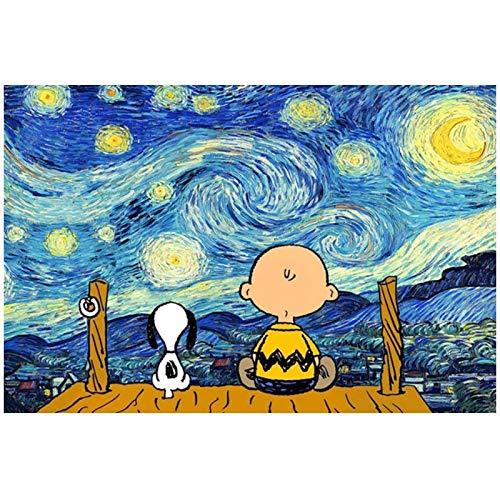 ZQXXX Póster de dibujos animados de Snoopy y Charlie, carteles de pintura de arte de pared e impresiones, cuadros de pared para la decoración del hogar de la sala de estar -60x80cm sin marco