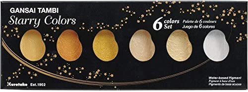 Kuretake GANSAI TAMBI Watercolor Starry 6 Colors Set, Gold, Silver, mica, Handcrafted, Professional-Quality Pigment I...