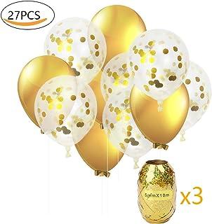 Globos de Fiesta MMTX Set Globos de Lunares de Confeti Dorado de 32 Pulgadas Paquete de 24 Globos de Latex Rellenos para Boda, cumpleaños, Baby Shower, graduación(con Cinta de Opciones)