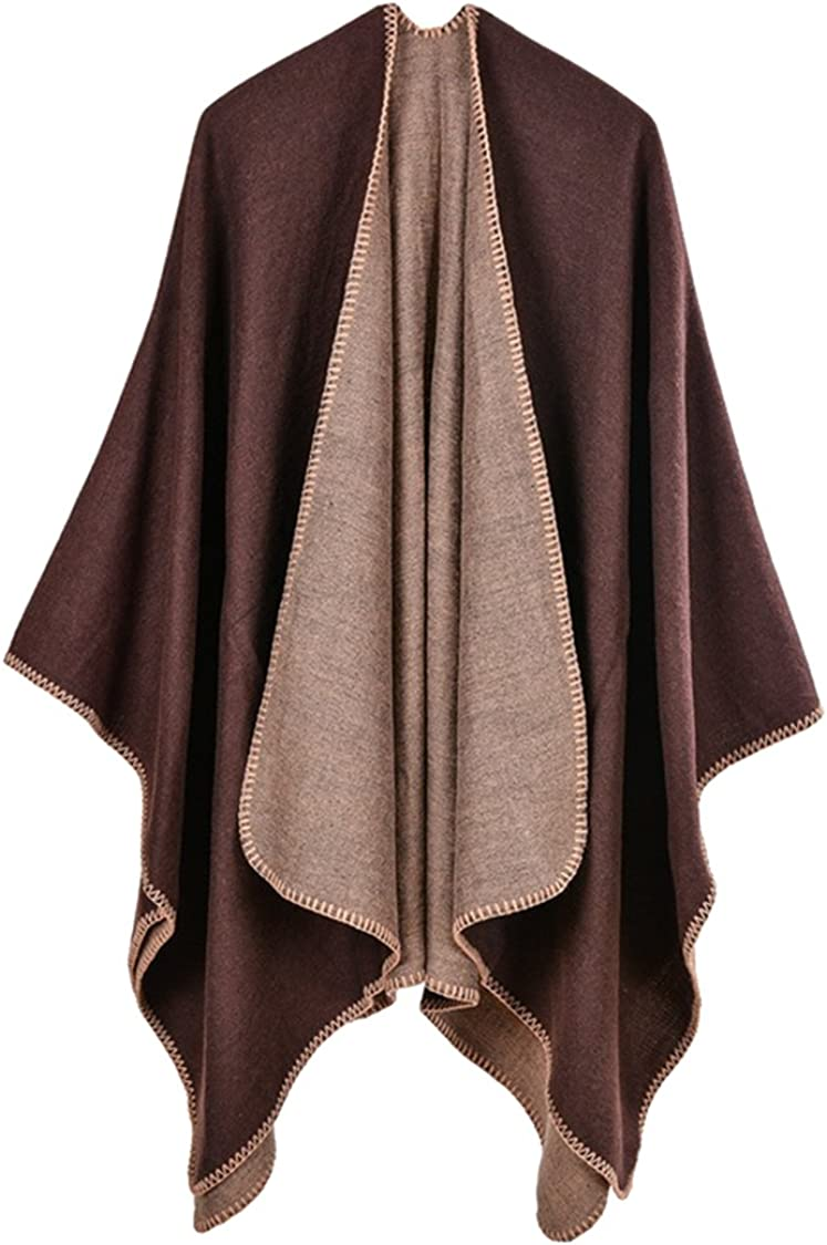 Pink Queen Women Oversized Cashmere Knitted Poncho Cape Cardigan Coat Shawl Wrap