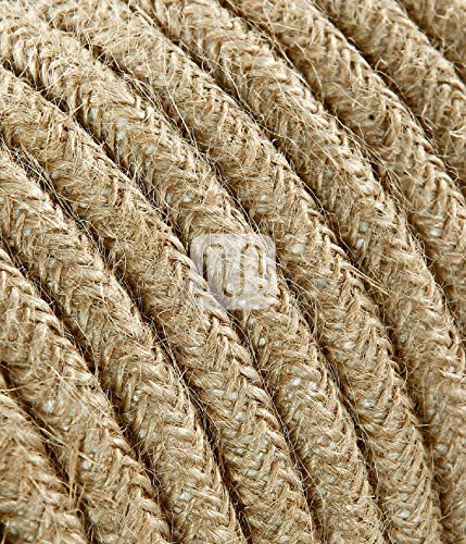 Elektrische Kabel in farbigem Stoff beschichtet. Made in Italy! 3 Meter 2x0, 75 Farbe: Canvas Roh Juta