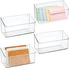 mDesign Wall Mount Plastic Home Storage Organizer Holder Basket - Hanging Bin Shelf for Walls/Doors in Entryway, Mudroom, ...