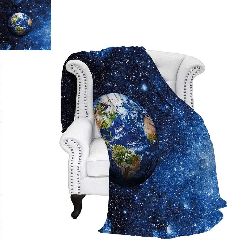 RenteriaDecor Space Flannel Blanket Planet Earth Solar System Print Image Blanket 60 x36