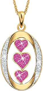 """Birthstone Daughter """"I Love You"""" Pendant Necklace – Daughter Sentiment Pendant – Birthstone Daughter Jewelry Gifts"""