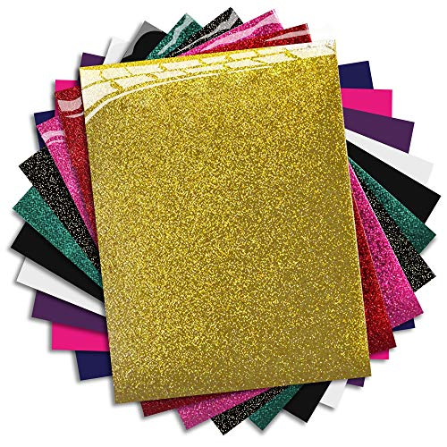 mipremium HTV de vinilo transferencia de calor de hierro en vinilo, Combo Kit de 10 colores más populares para con purpurina y Plain para camisetas y otros tejidos, Easy Cut, hierba y prensa
