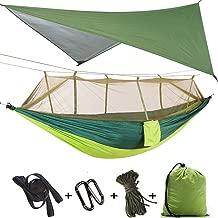 TOPCHANCES Upgrade Ultralight Portable Nylon Camping Hammock Mosquito Net with Rain Fly Tent Tarp for Outdoor Windproof, Anti-Mosquito, Swing Sleeping Hammock Bed