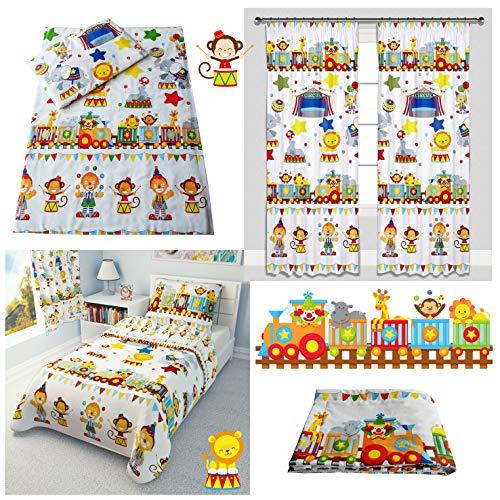 Circus Train Animals Nursery Baby Girl Boy Cot Bed Bedding Set 4-Piece incl Duvet + Pillow + Duvet Cover + Pillowcase (100x135 cm)