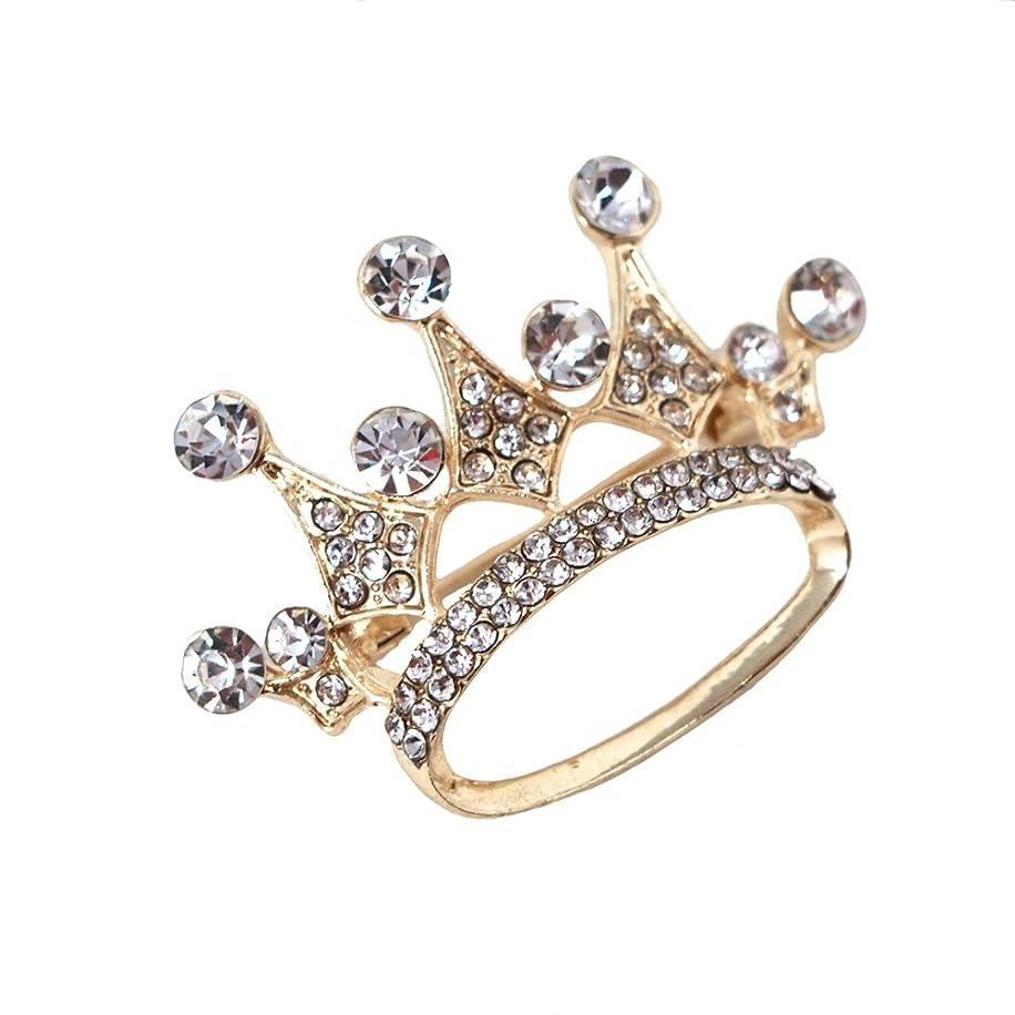 Homeford Rhinestone King Crown Brooch Pin, 1-3/4-Inch (Gold)