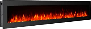 GMHome 60 Inches Electric Fireplace Wall Mounted Freestanding Heater Crystal Stone Flame Effect 9 Changeable Color Fireplace, with Remote, 1500W - Glass Panel, Black
