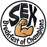 SEX Breakfast of Champions Funny Lady Motorcycle Chopper Biker Rider Hippie Punk Rock Jacket T-shirt Patch Sew Iron on Embroidered Sign Badge