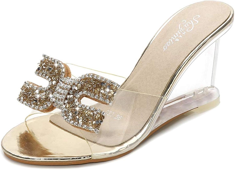 Btrada Women Transparent Wedge Sandals Ladies Summer Sexy Crystal High-Heels Rhinestone Beach Slippers