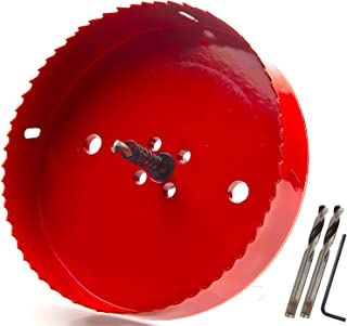 Eliseo 6 Inch 152mm Hole Saw Blade For Cornhole Boards , Corn Hole Drilling Cutter With Hex Shank Drill Bit Adapter For Cornhole Game , Carbon Steel & BI-Metal Heavy Duty Steel( Red )