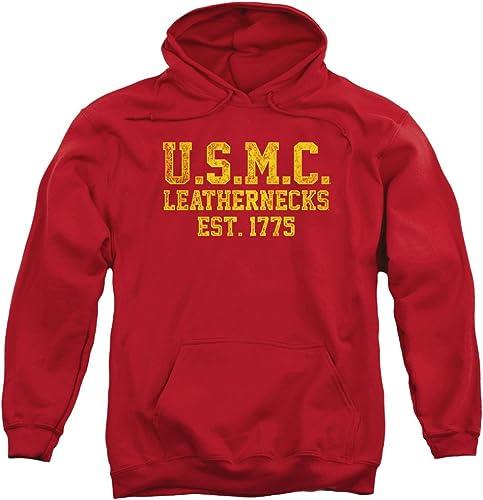 Us Marine Corps - - Sweat à Capuche en Cuir pour Hommes