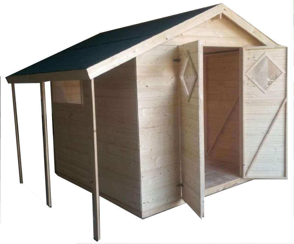 Casa de madera para jardín CADEMA, 4 m x 3, 3 m, (16 mm) con ventanas, cobertizo: Amazon.es: Jardín