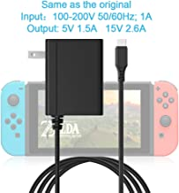 Rocketek USB C Power Supply Charger Adapter for Nintendo Switch, Wide voltage AC Charger Adapter with 5FT/1.5M Charging Cord 15V 2.6A Fast Charging Kit for N-Switch Dock/Pro Controller (Support TV Mod