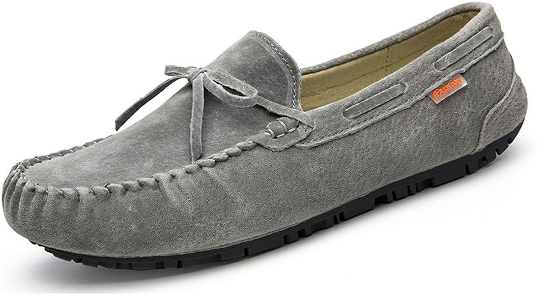 EGS-schuhe Driving Loafer für Mnner Stiefel Mokassins Slip On Style Schweinsleder Mode Bowknot Reine Farben,Grille Schuhe (Farbe   Grau, Gre   40 EU)
