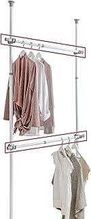 WENKO Barre porte-vêtements Herkules - Set de 2, barre télescopique, Acier, 3 x 75-120 x 3 cm, Blanc
