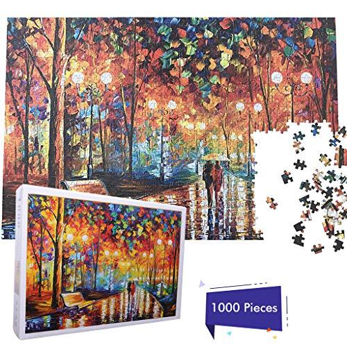 Hongfago Schwieriges Puzzle 1000 Teile des Holz Dekompressionspuzzles für Erwachsene | Rainy Night Walk Street
