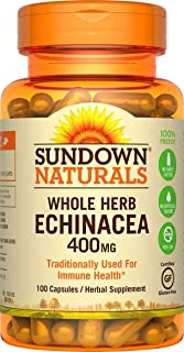 Sundown Naturals Echinacea Whole Herb 400mg Capsules - 100 Count Pack of 6