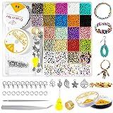 7000+ piezas 3mm Perlas de Vidrio Colores Cuentas,cuentas para hacer pulseras,Mini cuentas de cristal,abalorios para manualidades,Semillas con Anillos de Salto,cuentas para hacer pulseras