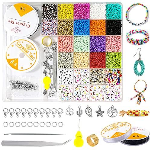 6700 piezas 3mm Perlas de Vidrio Colores Cuentas,cuentas para hacer pulseras,Mini cuentas de cristal,abalorios para manualidades,Semillas con Anillos de Salto,cuentas para hacer pulseras