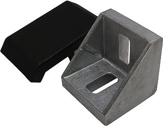 Juego de 10 ángulos de aluminio y tapas protectoras 45 42 x 42 x 42 mm M8 ranura 10
