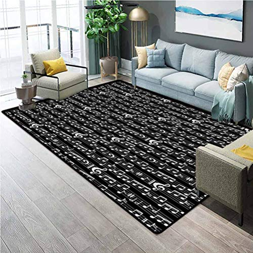 Music Rugs for Living Room Bathroom Rugs and mats Sets Musical Notes and Clef Figure Sheet Pattern in Artistic Abstract Style Print Carpet Squares for Classroom Black and White 5 x 6 Ft